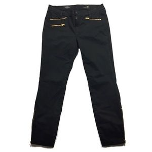 J. Crew Black Sateen Toothpick Pants with Zips